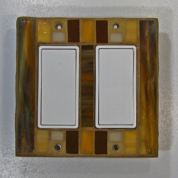 Double decora stained glass light switch cover for Decora light switches