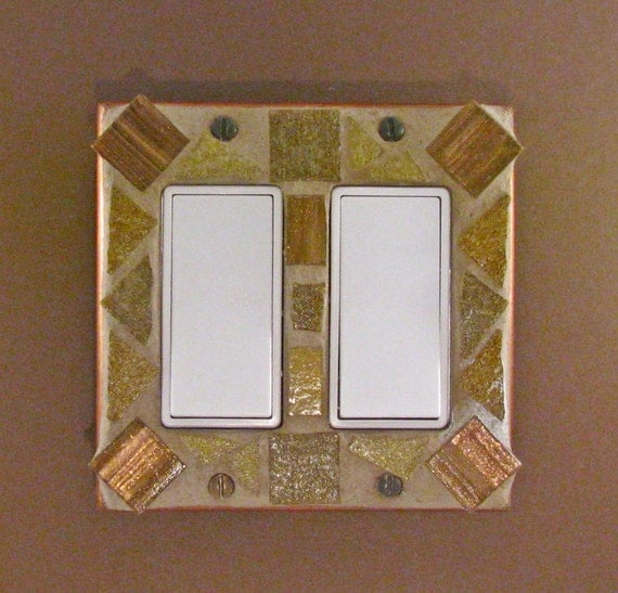 Double Light Switch - Mosaic Switch Plate Cover - Brown - Switch Cover 3832
