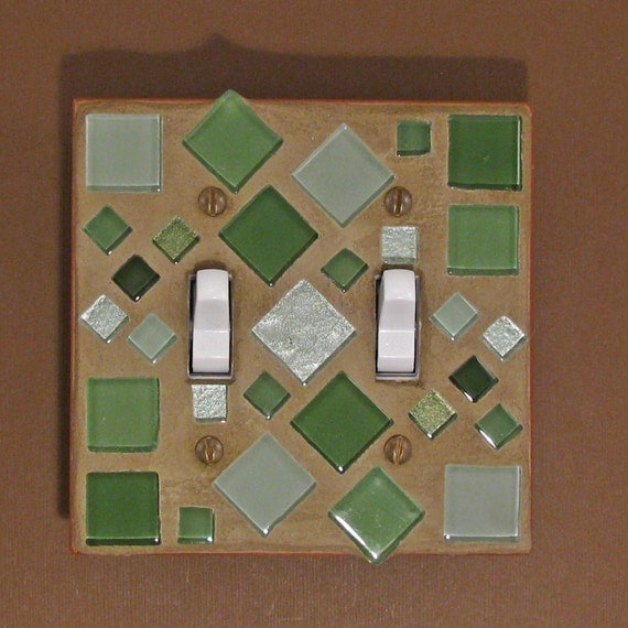 Mosaic Glass Tiles - Double Toggle Light Switch Cover - Switch Plate - Green 7194