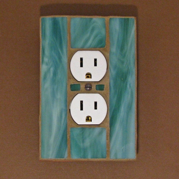 Outlet Cover Wall Plate - Stained Glass Moss Green 7295