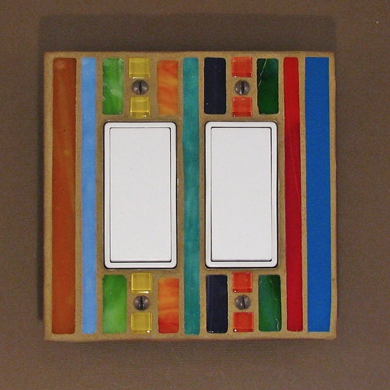 Double Light Switch Plate - Decorative Light Switch Cover - Mosaic Stained Glass - Multi Color  7389