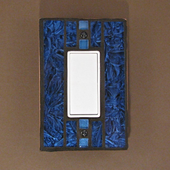 Van Gogh Stained Glass Switch Plate Cover - Bright Blue - Light Switch Cover Plate - 7405