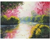 Misrt River . original signed oil painting by G.Gercken