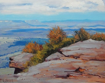 Blue Mountains original oil painting  by listed artist