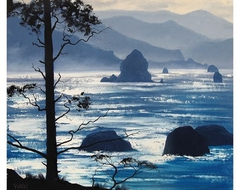 Oregon Beach Painting Impressionist Seascape by Graham Gercken