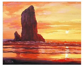 SUNSET OIL PAINTING Oregon Beach Fine Art