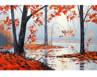 Autumn Trees oil painting Wall Decal art by G.Gercken
