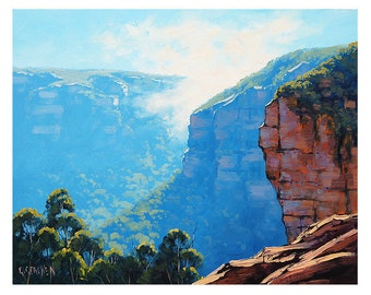 ORIGINAL PAINTINGS Blue Mountains Australia Traditional Oil by G.Gercken Award winning Artist