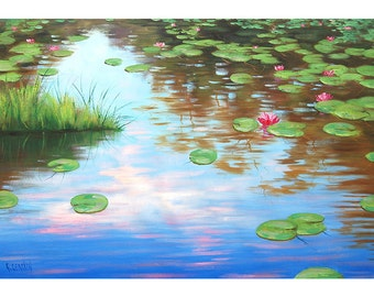 ORIGINAL OIL PAINTING Large Lily Pond impressionist painting Fine Art by G.Gercken Award winning Artist
