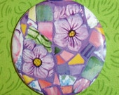 Sweet violets mosaic 2.25 inch magnet