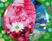 Guardian Angel with daisy collage pocket mirror in pink, turquoise and green with black velvet bag