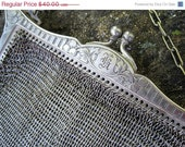 RESERVED SALE// Antique German Silver Metal Mesh Purse