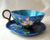 Antique Enamel Tea Cup - Vintage Canton Enamel