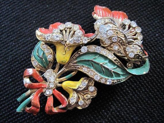 RESERVED Vintage Brooch - Stunning Enamel Flowers with Rhinestones