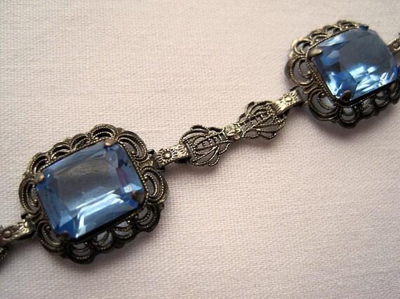 RESERVED Vintage Bracelet - Art Deco Sterling Silver - Blue Topaz