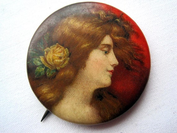 Antique Pinback - Cigarette Premium - Victorian Pretty Ladies