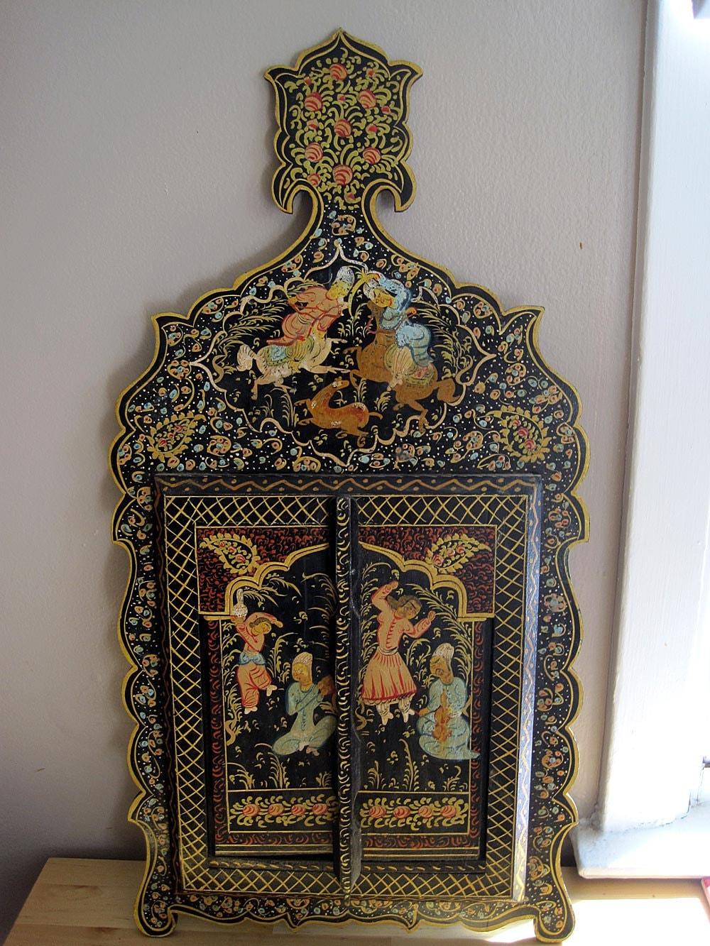 Vintage Mirror Antique Persian Painted Mirror Qajar