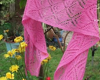 Bubble-gum Pink Long Lace Knit Scarf