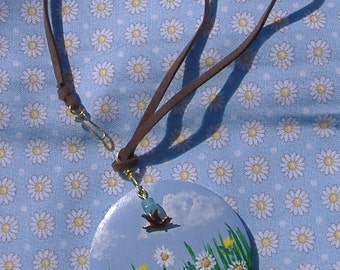 Painted Daisy Pendant