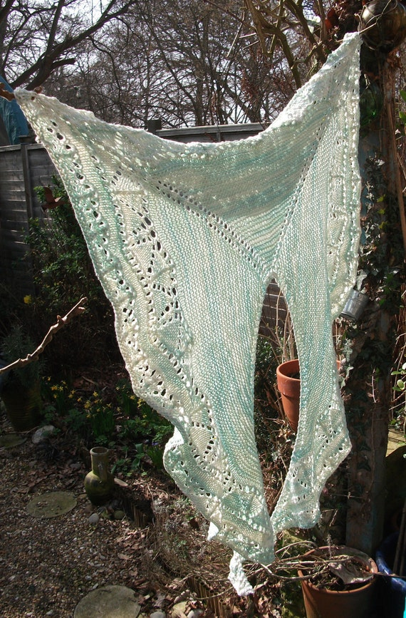 Minty Knitted Cotton Lace Shawl