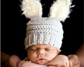 """Celebrate the """"Year of the Rabbit """" - Pale Grey Baby Bunny Hat Photography Prop"""