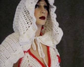 White Cotton Crochet Cape with Oversized Hood/ Ready for Immediate Shipment
