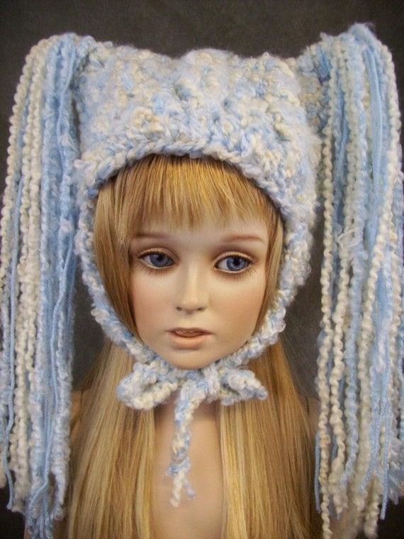 Ice Princess Crochet Blue & White Earflap Hat/  Ready for Immediate Shipment