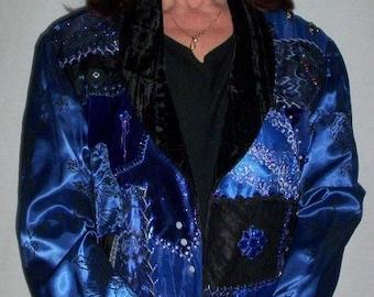 Royal Blue Crazy Quilt Front Jacket