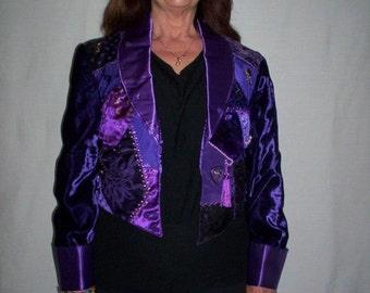 Purple Crazy Quilt Front Jacket