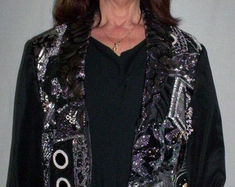 Black and Silver Crazy Quilt Front Jacket