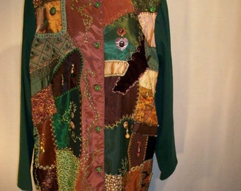 Long Jacket with Foresty Crazy Quilt Front