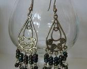 Carnival Glass Beaded Peacock Earrings