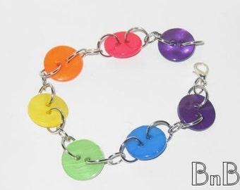Super Bright Rainbow Button Bracelet