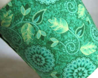 Coffee Cup Sleeve Cozy Stylized Floral in Greens