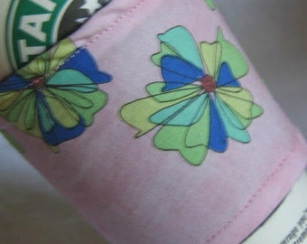 Coffee Cup Sleeve Cozy Pinwheels on Pink
