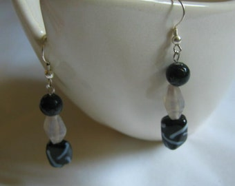 Black and White Beaded Earrings