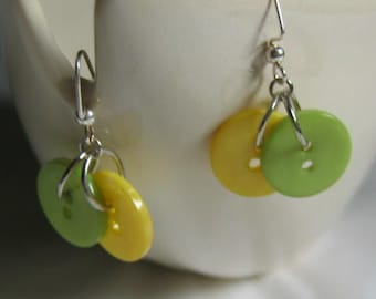 Lemon and Lime Button Earrings Summer Fresh
