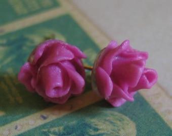 Elegant Dark Pink Rose Earrings