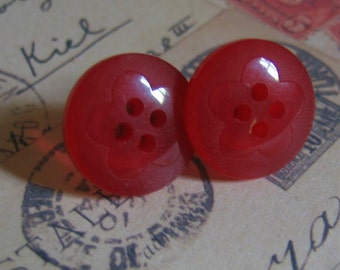 Red Flower Earrings made from Translucent Vintage Buttons