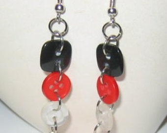 Black White and Red All Over Button Earrings