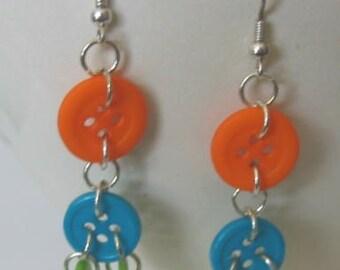 Fun Citrus Colors Buttoned Earrings