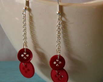 Wine Red Buttons Dangling Duster Earrings