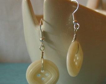 Wire Wrapped Vintage Ivory Buttons Earrings