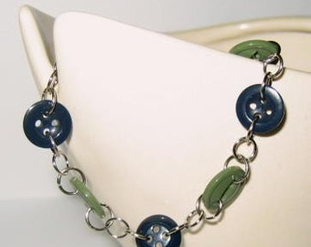 Olive Green and Navy Blue Buttons Bracelet