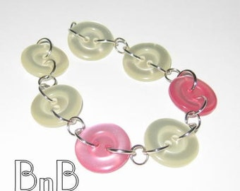 Shimmering Pink and White Buttoned Bracelet