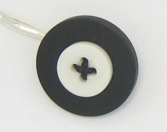 Fun New Lolli-Pin - White on Black Buttons Bobby Pin