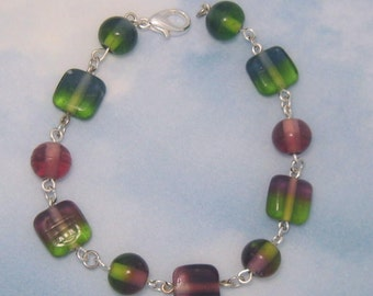 Moss Amethyst and Ocean Glass Beaded Bracelet