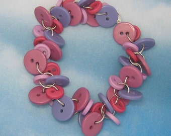 In the Mood for Mauve Chunky Button Bracelet
