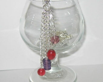 Grape and Cranberry Beaded Long Necklace