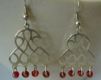 Bohemian Silver and Red Earrings